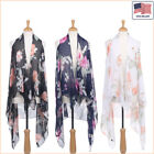 New Women Fashion Floral Printed Chiffon Open Front Sleeveless Vest - 30043