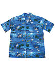 NEW NWT Tropical Design with Palm Trees, Fish, Hungry Sharks Camp Shirt