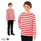 Boys Girls Red White Striped Stripey Book Day Fancy Dress Costume Jumper Top