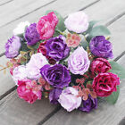 21HEADS ARTIFICIAL SILK SMALL FLOWERS ROSE BUNCH Wedding Home Outdoor Decor NEW