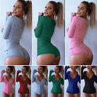 US Womens V Neck Bodycon Sexy Sleepwear Jumpsuit Shorts Romper Bodysuit Leotard