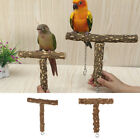 Parrot Perch Bird Stand Natural Wood Birdcage Play Gym T Perch for Budgies