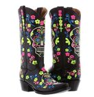 Womens Black Sugar Skull Halloween Leather Boots Western Cowgirl Style Snip Toe