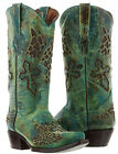 Womens Turquoise Cowgirl Leather Boots Wings Cross Overlay Design Pointed Toe