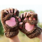 Winter Cute Cat Claw Paw Plush Mittens Short Fingerless Gloves Half Finger AL49