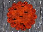 Spides Webs Glitter Orange Fabric YoYo Candle Mat Table Doily Penny Rug Style