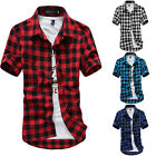 Fashion Men's Summer Casual Dress Shirt Mens Plaid Short Sleeve Shirts Tops Tee image