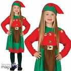 Girls Santas Helper Elf Grotto Nativity Christmas Fancy Dress Costume Outift Hat