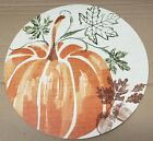 Set of 2 Round Vinyl NONCLEAR Placemats, HARVEST, FALL LARGE PUMPKIN & LEAVES