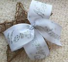 "5"" 10"" WIRED NATURAL WHITE MERRY CHRISTMAS CHRISTMAS RIBBON BOW TREE GIFT WREATH"