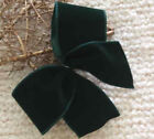 "5"" - 10"" LUXURY DARK GREEN VELVET WIRED CHRISTMAS RIBBON BOW  GIFT WREATH TREE"