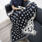 2 Side Print Star Fringed Tapestry Sofa Blanket Cover Bed ArmChair Throw Cover