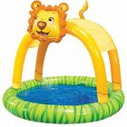 Banzai Shade N Sun Lion inflatable kids Pool with Removable Canopy