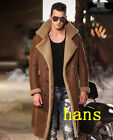 Men 100% genuine sheepskin fur lined winter coat luxury long jacket overcoat
