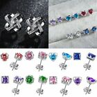 925 Silver Geometric Square Heart Crown Zircon Ear Stud Earrings Women Jewelry