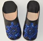 MOROCCAN LEATHER SEQUIN BABOUCHE SLIPPERS WOMENS SHEEPSKIN MULES **STAR DESIGN**