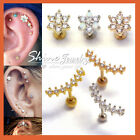 Opal Crystal Stud Ring Bar Ear Climber Earrings Cartilage Helix Tragus Piercing