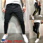 Men's Slim Fit Urban Straight Leg Trousers Casual Pencil Jogger GYM Pants USA