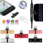 Dual 2in1 Lightning Headphone Audio & Charger Adapter Splitter For iPhone X 7 8