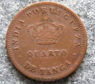 INDIA PORTUGESE LUIZ I 1881 QUARTO 1/4 TANGA, COPPER, DIE ROTATION ~45°