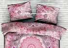 Indian Ombre Mandala Printed Bed Pink Pillow Cover Cotton Pouf Sham Gorgeous