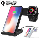 For Samsung Note 9 iPhone XS iWatch 2 3 4 10W Fast Wireless Charger Holder Stand