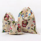 3Pcs Set Fashion Floral Backpacks Drawstring Canvas Laundry Bags Totes Organizer