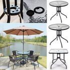 60/80cm Bistro Table Black Frame Glass Top Outdoor Garden Patio Furniture Cafe