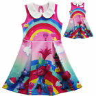 Lovely Girls Christmas Poppy Trolls  Sleeveless Party Holiday Birthday Dress O68 image