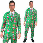 Christmas Suit Santa Reindeer Funny Patterned Fancy Dress Costume 3 Piece Mens