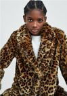 ZARA FW19 THICK PELT LAPEL COLLAR FAUX FUR ANIMAL LEOPARD PRINT COAT 1255/253