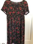 Lularoe Small S Carly Dress Black Base Striped Red And Tan Flowers Gorgeous Tare