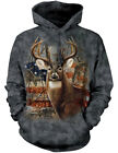 NEW NWT Patriotic Buck & Deer with Flag Woodland Backdrop Hoodie
