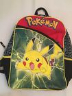 "Pikachu Pokemon Backback With Pokeball Print And ""Light Nubs"" Mesh Side Pockets"