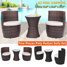 Outdoor Rattan Wicker Sofa Set  Patio Garden Five Pieces Bistro Patio Furniture