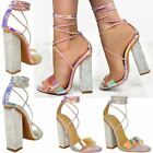 Womens Party Perspex Strappy High Block Heel Sandals Hologram Clear Diamante