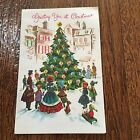 Vintage Greeting Card Christmas Tree People Town
