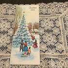 Vintage Greeting Card Christmas Cheer Tree People