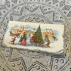 Vintage Greeting Card Christmas Tree People Town Snow