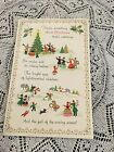 Vintage Greeting Card Christmas Tree People Trees Holly