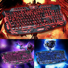 LED Gaming Wired 3Colors 2.4G keyboard Mouse Set Computer Multimedia Gamer PC US