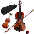 1/2 1/8 1/4 3/4 4/4 Basswood Natural Acoustic Violin Fiddle Set w/Case Bow Rosin