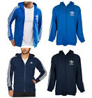 Adidas Men's Trefoil Logo 3 Stripe Front Pocket Full-Zip Hoodie