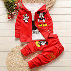 3pcs Kids Baby Boys Girls Mickey Hooded Jacket T Shirt Pants Outfits Set Clothes