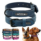 Personalized Soft Leather Dog Collar for Small Large Dog Yorkie Labrador Pitbull