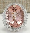 Luge Woman Wedding Engagement 925 Silver Morganite Ring Jewelry Gift Sz 6-10