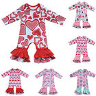 Внешний вид - Valentine's Day Love Heart Print Romper Baby Girls Ruffle Long Playsuit Outfits