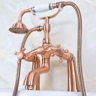 Antique Red Copper Clawfoot Bath Tub Faucet with Handshower - Deck Mount sna153