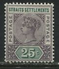 Straits Settlements QV 1892 25 cents violet and green mint o.g.