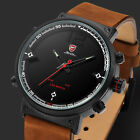Shark Mens Crazy Horse Leather Strap Stainless Steel LED Quartz Wrist Watch